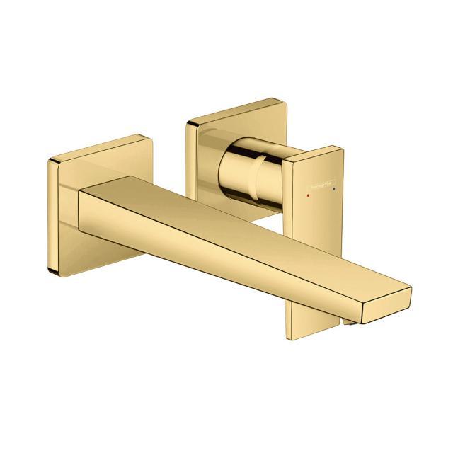 Hansgrohe Metropol Einhebel-Waschtischmischer für Wandmontage, mit Zungengriff gold, Ausladung: 225 mm