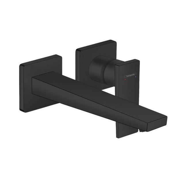 Hansgrohe Metropol Einhebel-Waschtischmischer für Wandmontage, mit Zungengriff schwarz matt, Ausladung: 225 mm