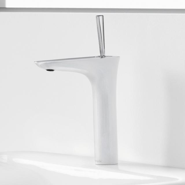 Hansgrohe PuraVida Einhebel-Waschtischmischer 200 mit Push-Open-Ablaufgarnitur, weiß/chrom