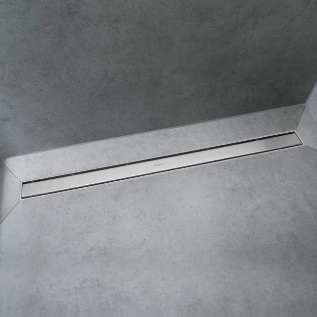 Hansgrohe RainDrain Match Fertigset Duschrinne mit höhenverstellbarem Rahmen edelstahl gebürstet