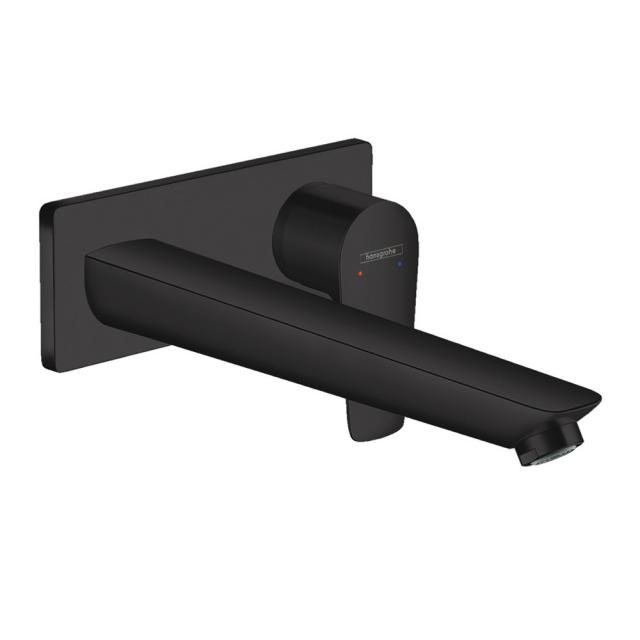 Hansgrohe Talis E Einhebel-Waschtischmischer für Wandmontage schwarz matt, Ausladung: 225 mm