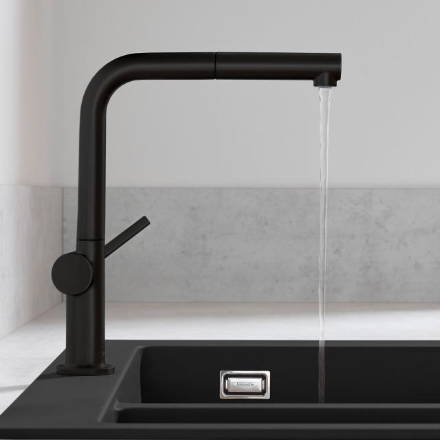 Hansgrohe Talis M54 Einhebel-Küchenmischer mit Ausziehauslauf mit sBox schwarz matt