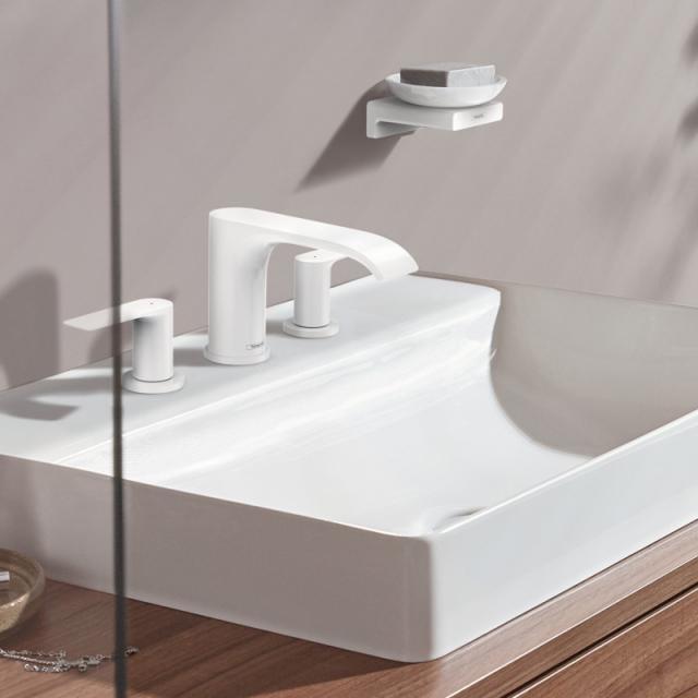 Hansgrohe Vivenis 3-Loch Waschtischarmatur 90 mit Ablaufgarnitur weiß matt
