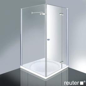 Reuter Kollektion Medium Neu Tür mit Seitenwand chrom/silber hochglanz WEM 869-884 Festt.234/825