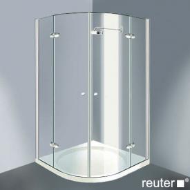 Reuter Kollektion Medium Neu Viertelkreis mit 2 Drehtüren ESG klar mit PerlClean/chrom-silber hochglanz