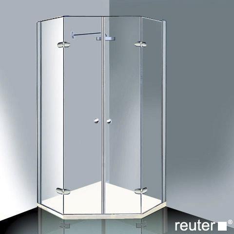 Reuter Kollektion Medium Neu Fünfeck mit 2 Drehtüren ESG klar mit PerlClean/chrom-silber hochglanz