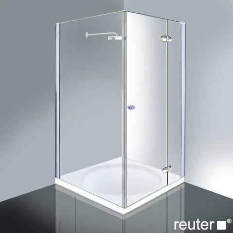 Reuter Kollektion Medium Neu Tür mit Seitenwand ESG klar mit PerlClean/chrom-silber hochglanz