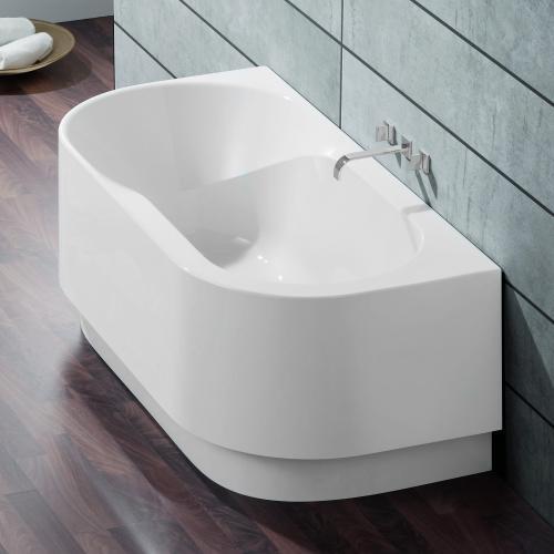 hoesch spectra halbrunde badewanne mit angeformter sch rze wei reuter. Black Bedroom Furniture Sets. Home Design Ideas