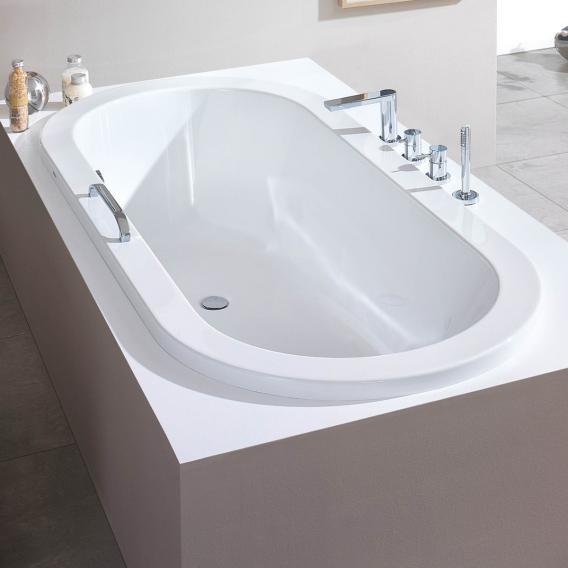 Hoesch SCELTA Oval-Badewanne, Einbau, Überlauf links weiß