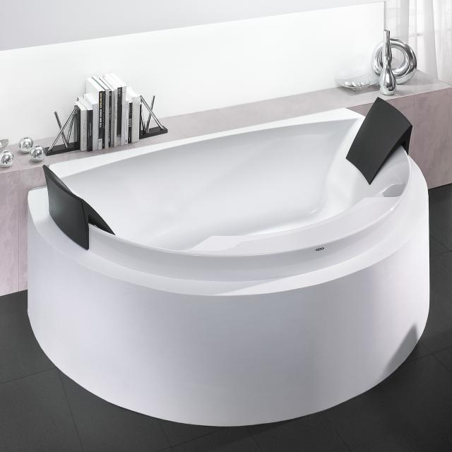 Hoesch AVIVA Halbrunde Vorwand-Badewanne mit 2 Rückenstützen weiß