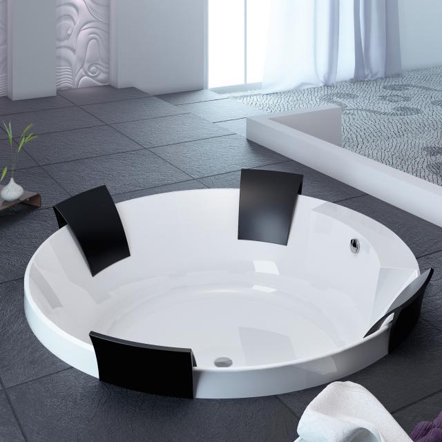 Hoesch AVIVA Rund-Badewanne mit 4 Rückenstützen, Einbau weiß