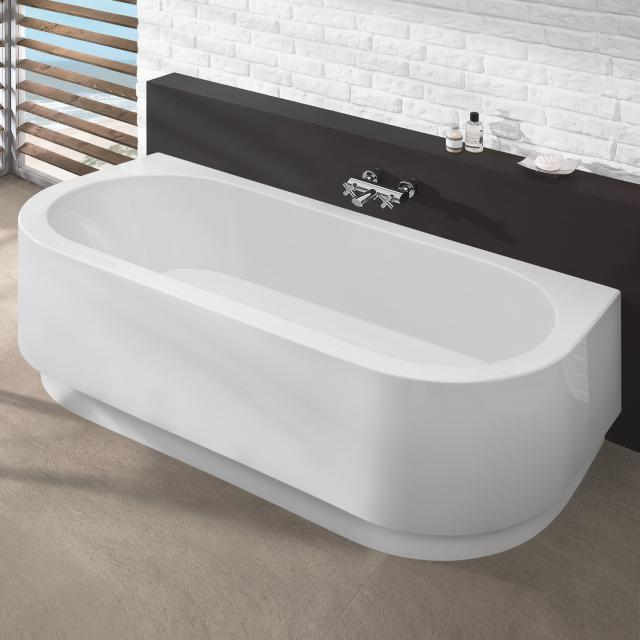 Hoesch HAPPY D Halbrunde Vorwand-Badewanne mit Verkleidung weiß