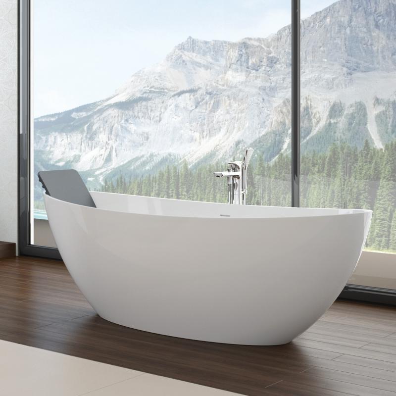 Hoesch namur freistehende badewanne wei for Asymmetrische badewanne 170