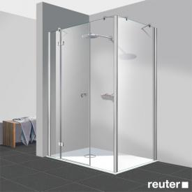 Reuter Kollektion Easy Neu Tür 3-teilig mit Seitenwand klar hell / chrom optik