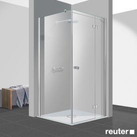 Reuter Kollektion Easy Neu Tür mit Seitenwand ESG klar hell / chrom optik, WEM 88,5-90 cm
