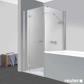 Reuter Kollektion Easy Neu Tür mit Seitenwand klar hell PerlClean / chrom optik, WEM 87,5-90 cm