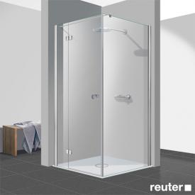 Reuter Kollektion Easy Neu Tür mit Seitenwand klar hell PerlClean / chrom optik, WEM 88,5-90 cm
