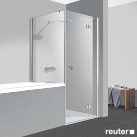 Reuter Kollektion Easy Neu Tür mit Seitenwand verkürzt ESG klar hell / chrom optik, WEM 87,5-90 cm
