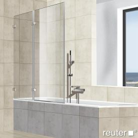 Reuter Kollektion Premium rahmenlos Badewannenaufsatz, Drehtür an Festteil