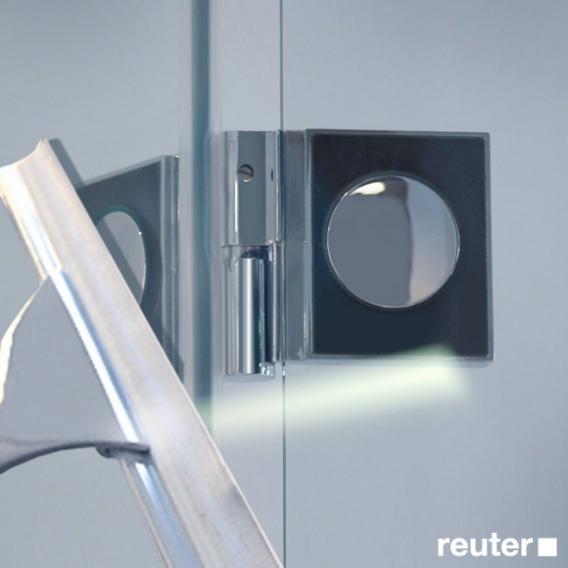Reuter Kollektion Easy Neu Tür mit Seitenwand ESG klar hell PerlClean / chrom optik, WEM 87,5-90 cm