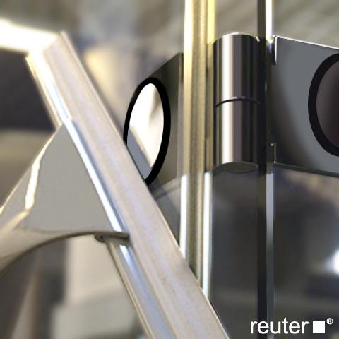 Reuter Kollektion Medium Neu Viertelkreis mit 1 Drehtür ESG klar mit PerlClean/chrom-silber hochglanz