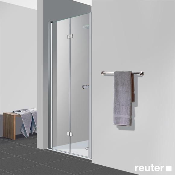 Reuter Kollektion Easy Neu Drehfalttür in Nische ESG klar hell PerlClean / chrom optik