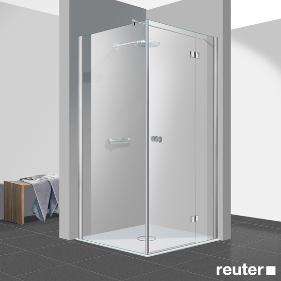 Reuter Kollektion Easy Neu Tür mit Seitenwand ESG klar hell PerlClean / chrom optik, WEM 88,5-90 cm