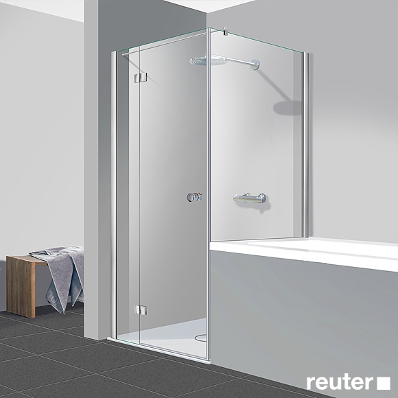 Reuter Kollektion Easy Neu Tür mit Seitenwand verkürzt ESG klar hell PerlClean / chrom optik, WEM 87,5-90 cm