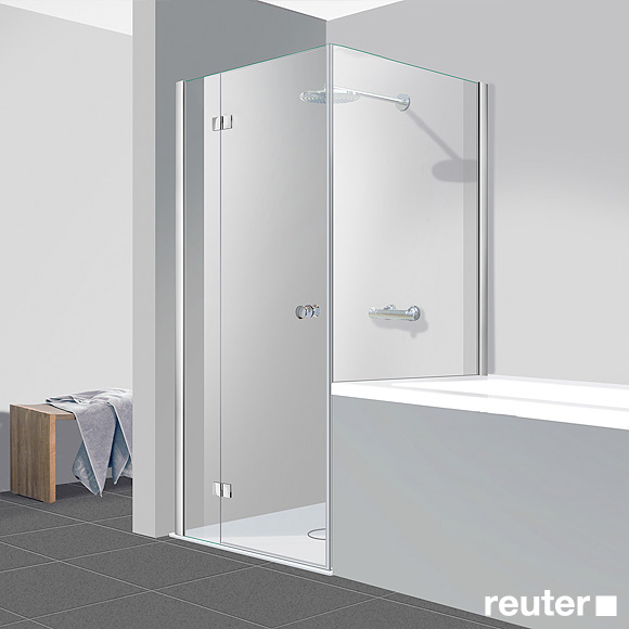 reuter kollektion easy neu t r mit seitenwand klar hell chrom optik wem 78 5 80 cm. Black Bedroom Furniture Sets. Home Design Ideas