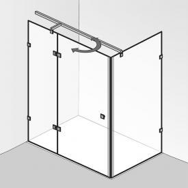 HSK Atelier Pur Pendeltür mit Festfeld und Seitenwand ESG klar hell mit Edelglas / chrom optik