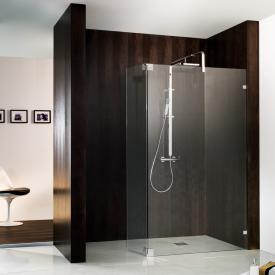 HSK Atelier Pur Walk-In Duschwand mit beweglichem Segment ESG klar hell mit Edelglas / chrom optik