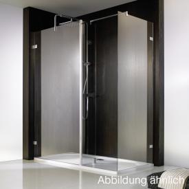 HSK Atelier Pur Walk-In Duschwand mit Seitenteil und Seitenwand ESG mittig mattiert mit Edelglas / chrom optik