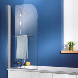 HSK Exklusiv Badewannenaufsatz 1-teilig mit Handtuchhalter Echtglas, klar hell / Alu silber-matt