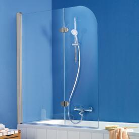 HSK Exklusiv Badewannenaufsatz 2-teilig ESG klar hell mit Edelglas / silber matt