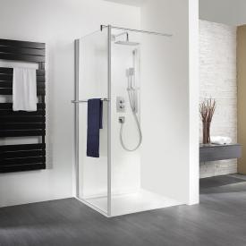 HSK Exklusiv Seitenwand mit Handtuchhalter für Drehtür ESG klar hell mit Edelglas / silber matt