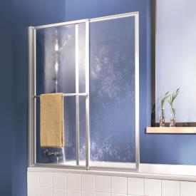 HSK Favorit Badewannenaufsatz Schiebetür mit Handtuchhalter Kunstglas tropfen hell / silber matt