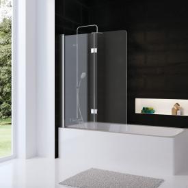 HSK Favorit Nova Badewannenaufsatz, 2-teilig ESG klar hell, Edelglas / silber matt