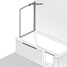 HSK Favorit Nova Seitenwand zu Badewannenaufsatz ESG klar hell / silber matt