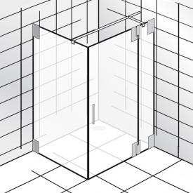 HSK K2 Drehtür mit Seitenwand klar hell Edelglas / chrom