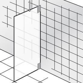 HSK K2 Seitenwand ESG klar hell mit Edelglas / chrom optik