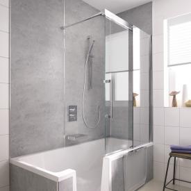 HSK K2P Badewannenaufsatz Gleittür, 2-teilig ESG klar hell, Edelglas / chrom