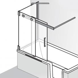 HSK K2P Badewannenaufsatz Gleittür, 2-teilig + Seitenwand ESG klar hell / chrom