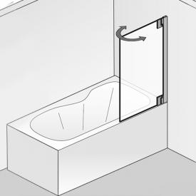 HSK K2P Badewannenaufsatz Pendeltür ESG klar hell mit Edelglas / chrom optik