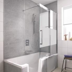 HSK K2P Badewannenaufsatz Schiebetür, 2-teilig ESG mittig mattiert, Edelglas / chrom