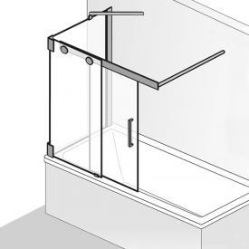 HSK K2P Badewannenaufsatz Schiebetür 2-teilig mit Seitenwand ESG klar hell mit Edelglas / chrom optik