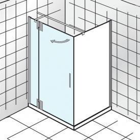 HSK K2P Drehtür für Seitenwand klar hell Edelglas / chrom, WEM 98,5-100,5 cm