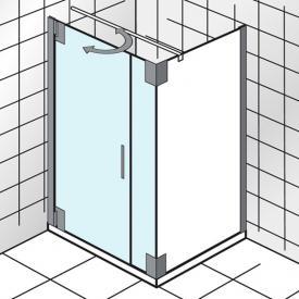 HSK K2P Drehtür für Seitenwand klar hell Edelglas / chrom, WEM 99,5-100,5 cm