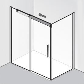 HSK K2P Gleittür mit Seitenwand klar hell / chrom, WEM 138,5-140,5 cm
