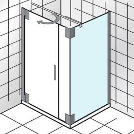 HSK K2P Seitenwand für Drehtür an Wand angeschlagen, mit Festteil an Seitenwand klar hell Edelglas / chrom, WEM 98,5-100,5 cm
