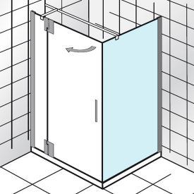 HSK K2P Seitenwand für Drehtür an Festteil angeschlagen klar hell Edelglas / chrom, WEM 118,5-120,5 cm